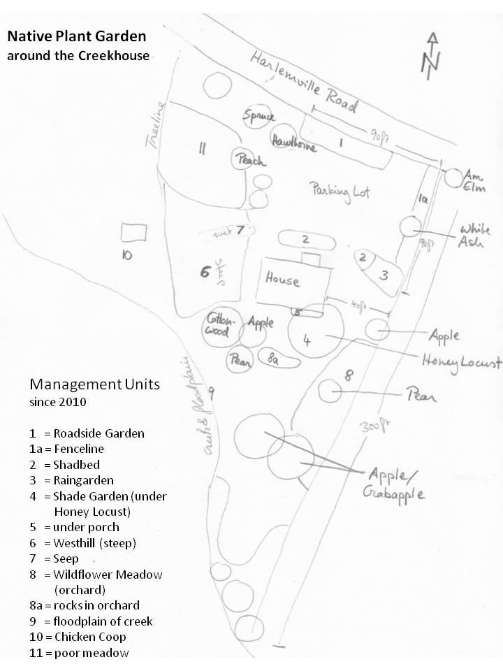 Sketch map of Creekhouse Garden